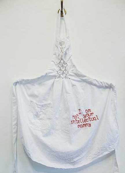 I am not your intellectual mammy, cotton apron with embroidering, by Amanda Chestnut
