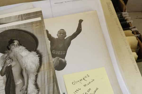 Mae Johnson and jesse Owens, African Americans/Civil Rights/Jesse Owens, Solbelman Syndicate News Agency Archive, Visual Studies Workshop, Rochester NY by Amanda Chestnut
