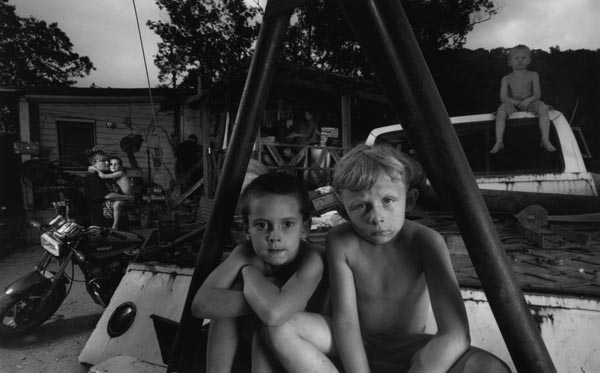 "Robbie and Tyler on Wrecker, 2003, by Shelby Lee Adams from ""salt & truth"""