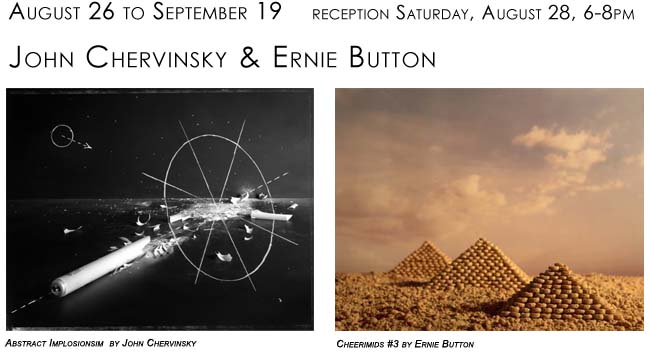 exhibition announcement John Chervinsky and Ernie Button, August 26 to September 19