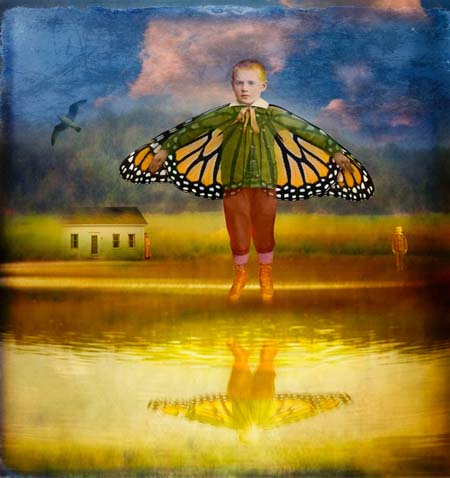 Flying Boy Over Truro Pond by Fran Forman