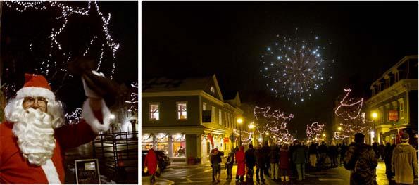 santa& fireworks winter walk