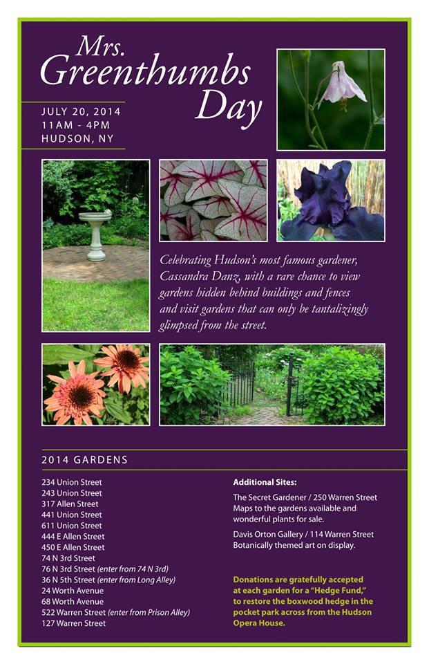 Mrs. Greenthumbs Tour Hidden Gardens of Hudson