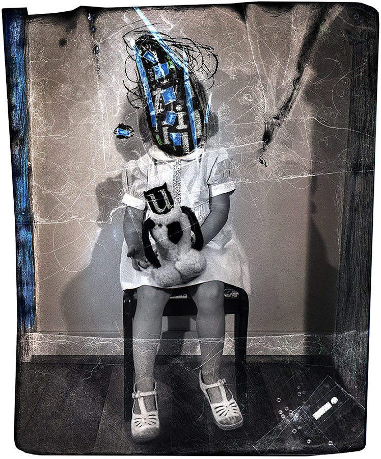 Cissa's Teddy, negative collage by Smith Eliot