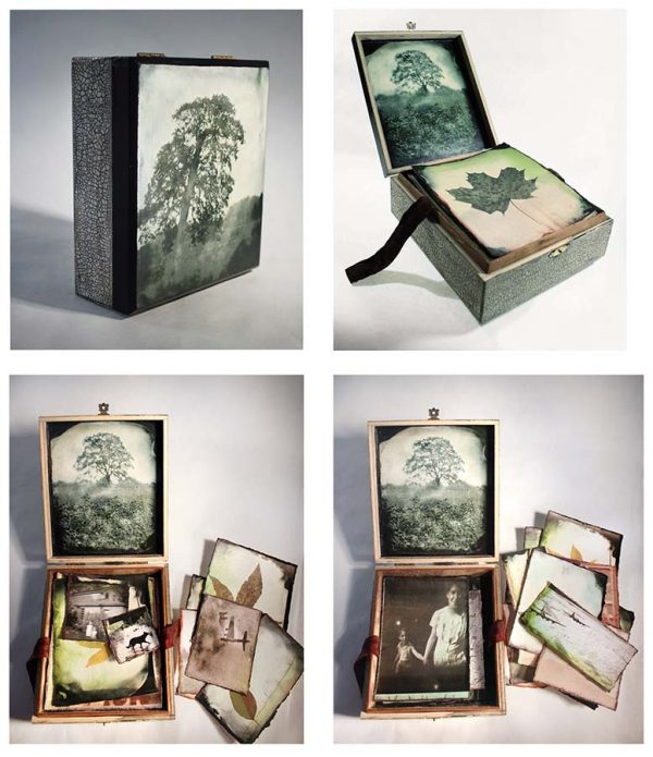 Falling Leaves, Little Box, Assemblage, mixed media by Smith Eliot