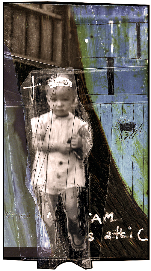Hat Baby, pigment print from negative collage by Smith Eliot