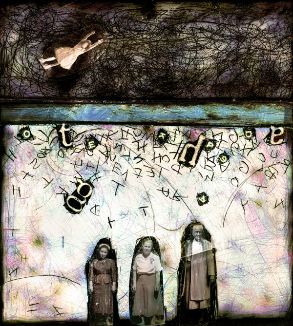 Sticks n Stones, pigment print from negative collage by Smith Eliot