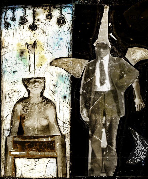 Unlikely Bedfellows, pigment print from negative collage by Smith Eliot