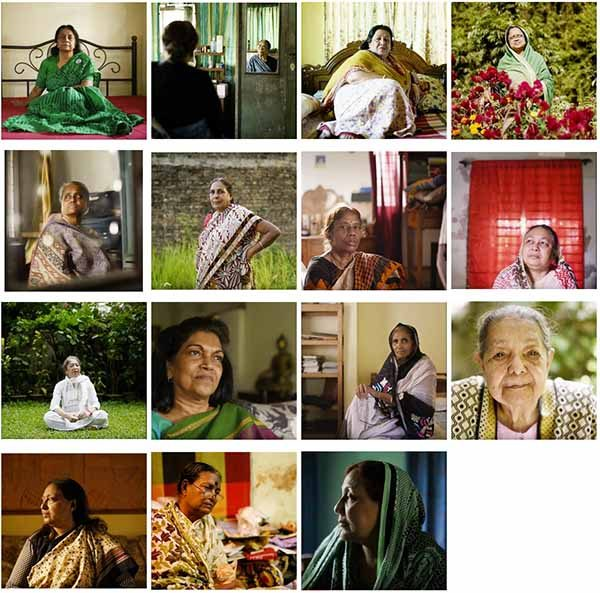 Stills from Fifteen video portraits of Bangladeshi women who fought in the 1971 war for independence by Carlos Saavedra
