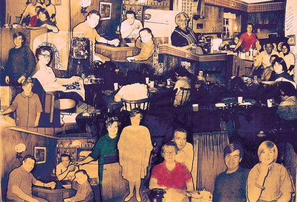 Knotty Pine Panelled Bar 2014, 12x18 Archival inkjet print on Hahnemuhle Photo Rag 1/10 $450 - photo collage by Kev Filmore