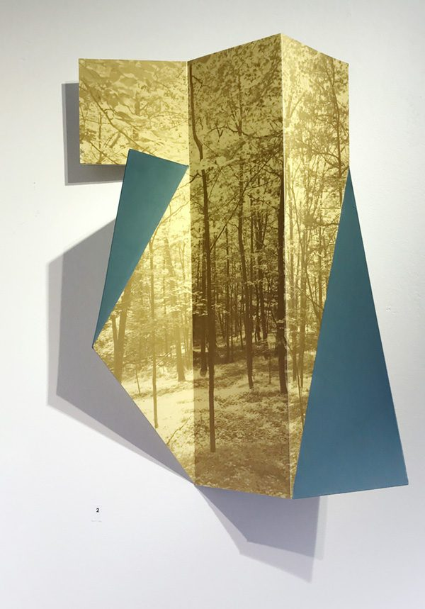 """Yellow and Blue 2017 11""""W X 4.5""""DX 17""""H inkjet, aluminum. $2200"""