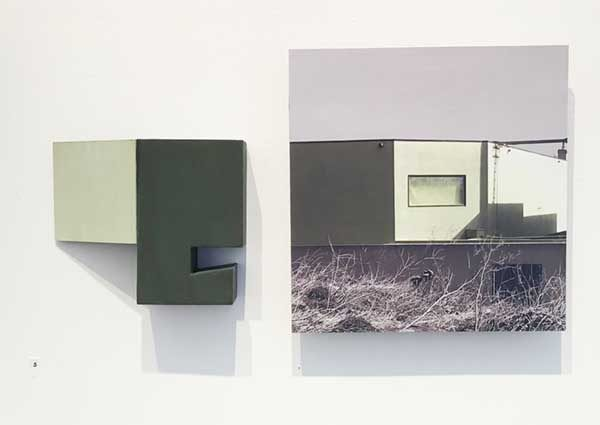 """Site 5, by Margaret Saliske, 2018 17.5:W X 1.5""""D X 9.5""""H inkjet, wood, plexiglass, acrylic Slide, $2200"""