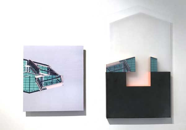 "Site 3, by Margaret Saliske, 2018 22""W X 1.25""D X 18.5""H inkjet, wood, plexiglass, acrylic , $2800"
