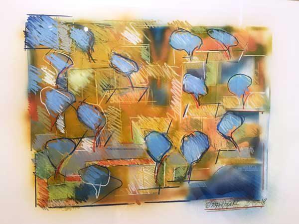 Orchard- By David Drake 24x19...Acrylic and pastel on Bristol...$2200