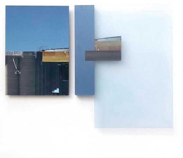 "Site 1, by Margaret Saliske, 2018 19""W X 1.25""D X 14""H inkjet, wood, plexiglass,acrylic , $2800"