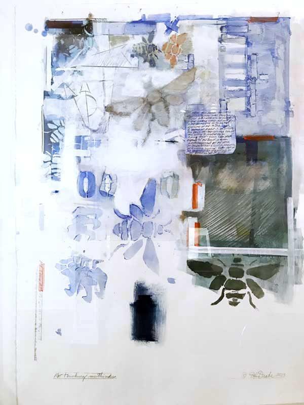 Me Thinking-Methinks- By David Drake 22x30...Acrylic, Ink, Graphite on paper...$2500