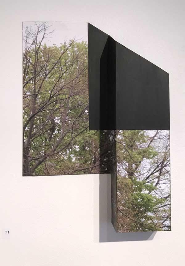 """Chop 3 by Margaret Saliske, 2016 9""""W X 2""""D X13""""H inkjet, aluminum, gesso, $2200"""