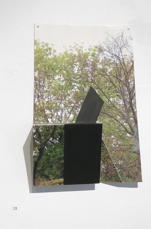 """Chop 4 by Margaret Saliske, 2017 7""""W X 2""""D X 11""""H inkjet, aluminum, gesso, $2200"""