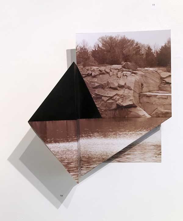 "Quarry 1 by Margaret Saliske, 2017 13""W X 3""D X 14""H inkjet, aluminum, $2200"