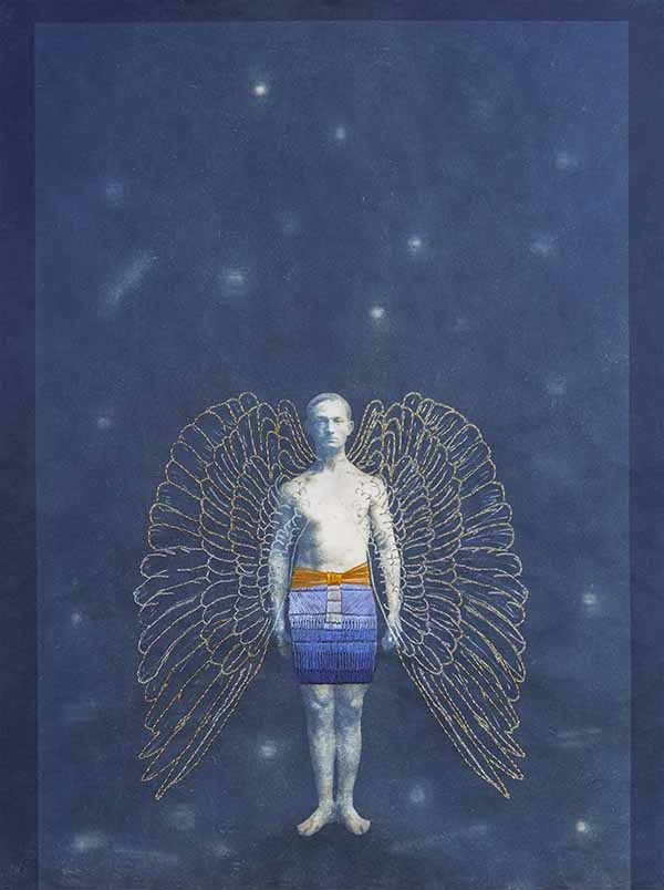 Man with Wings, mixed media by Edie Bresler
