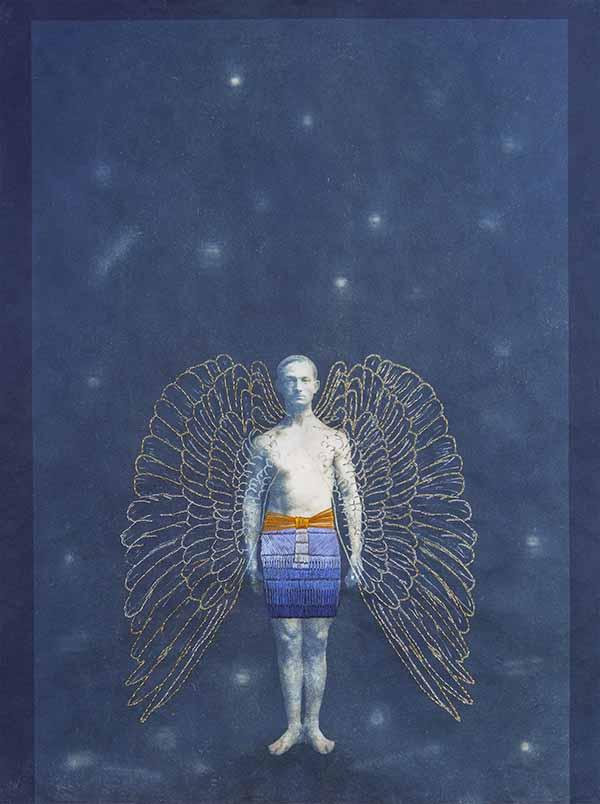 Man with Wings, mixed media by Edie Bresler