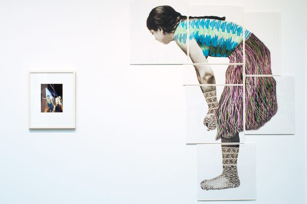 "Giant Anonymous Girl 1880, 2018 by Edie Bresler, 8 sections, pigment in prints with thread and lace, approx size 60"" x 70"", $2500 + plexiglas and back boards $200"
