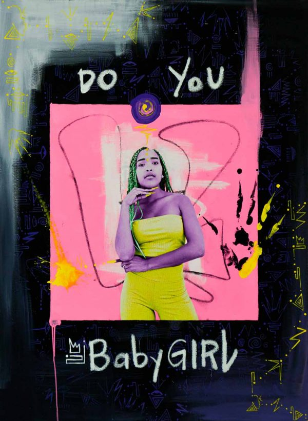 """Do You BabyGirl"" 2018 by Nichole Washington, 30x40"", Gouache and Photo on Canvas. $3800"