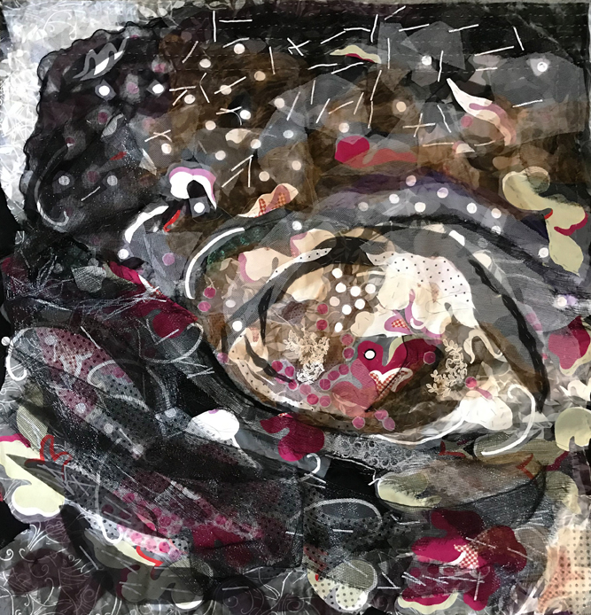 "Maureen McNeil, CloverReach 7, 49x54"", sewn fabrics, metallics, plastics"