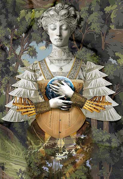 Lady Earth, photocollage mounted