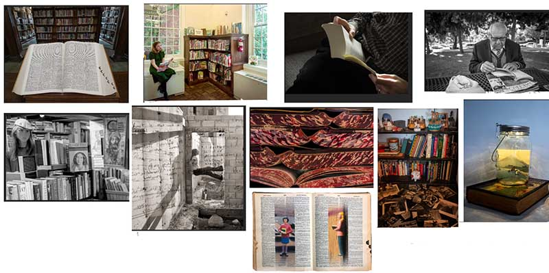 Illustration of 10 photographs - books and readers