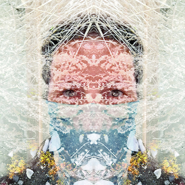 """Jessica Ann Willis, Masked, Moura Ecantada, 2020, Pigment Print, 13""""x13"""", In Catalan mythology an aloja, also known as dona d'aigua, goja or paitida, is a feminine being that lives in places with fresh water. These """"water-women"""" are said to be able to turn into water blackbirds"""