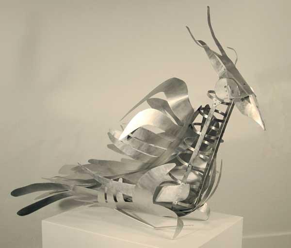 "Warrior for Peace, 2007, Aluminum sculpture , 40"" x 60"" x 20"" inches"