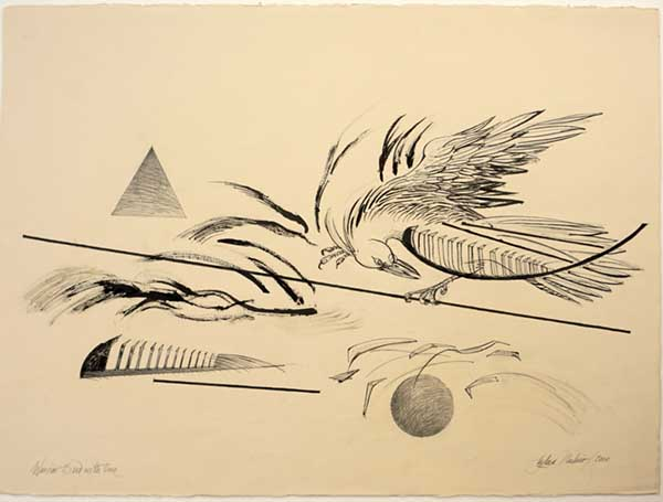 Fighting Bird with Line, 2000, Ink and graphite on cream color paper, 22 x 29.5 inches image, 25.5 x 33 inches, framed in oak wood