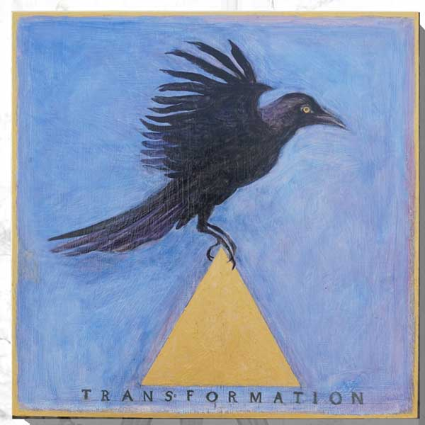 Bird of Transformation, 2020, Oil and gold pigment on panel 12 x 12 inches, According to ancient beliefs, an upright equilateral triangle, with one point at the top and two at the base, is a male and solar symbol representing spirit, divinity, fire, life, prosperity and harmony. Crows are symbols of transformation.