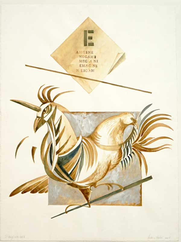 E of ENIGMA, Room of Migration, 2002, Watercolor on paper, 32 x 24 inches