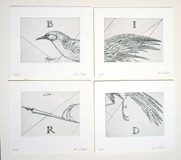 Bird of Saint Luke, 2001, Etching, edition of 15, polyptych of 4 prints Available 5: 2 PP, 2 AP, 1 framed in black, Four images each 7 x 8 inches