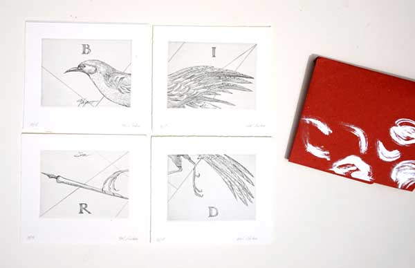 Bird of Saint Luke, 2001, Etching with envelope, edition of 15, polyptych of 4 prints